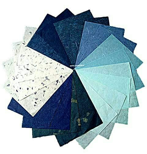 NAVA CHIANGMAI Thin Standard Color of Mulberry Paper Sheets Paper Decorative DIY Craft Scrapbook Wedding Decorative Mulberry Paper Art Tissue Japan (Mixed Blue)