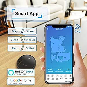Tesvor Robot Vacuum Cleaner, Wifi Robotic Vacuum with Real Time Map and Plan Cleaning, 1500Pa Max Suction, Works with Alexa, Powerful Clean for Pets, Cleans Hard Floors and Low-pile Carpets by Tesvor