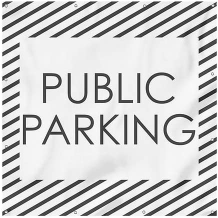 Stripes White Heavy-Duty Outdoor Vinyl Banner Public Parking 8x8 CGSignLab
