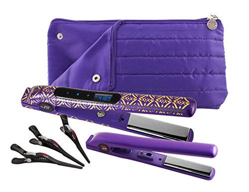 CHI Smart Gemz Volumizing Zironium Titanium 1 Inch Amethyst Metallic Foil Hairstyling Iron with 3/4 Inch Travel Iron, Hair Clips and Thermal Pouch (Chi Iron Travel)