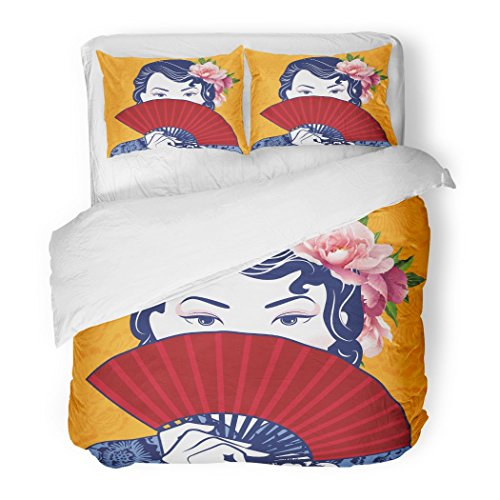 SanChic Duvet Cover Set Blue Girl of Retro Chinese Lady Holding Fan on Yellow Pattern Colorful Oriental Decorative Bedding Set with 2 Pillow Shams Full/Queen ()