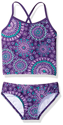 Kanu Surf Little Girls' Melanie Beach Sport 2-Piece Banded Tankini Swimsuit, Purple, 6