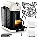 Nespresso VertuoLine Coffee and Espresso Machine (White) Bundle with Knox Milk Frother, 2 Tiara Cups & Saucers and Coffee Baskets