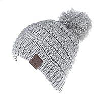 MIOIM Baby Boys Girls Winter Warm Wool Knitting Hat Pompom Bobble Ski Cap Beanies