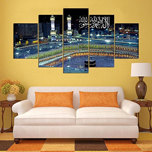 [Mediuml] Premium Quality Canvas Printed Wall Art Poster 5 Pieces / 5 Pannel Wall Decor Muslims Of Islam Painting, Home Decor Pictures - With Wooden Frame by PEACOCK JEWELS