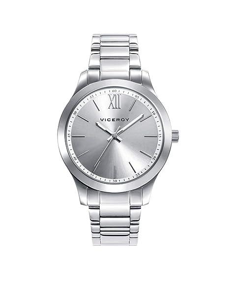 Viceroy 401068-03 - Reloj para Mujer Acero, Esfera Plateada: Amazon.es: Relojes