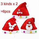 6pcs 25×30cm Children / Kids Santa Claus Christmas Snowman Christmas Deer Hats