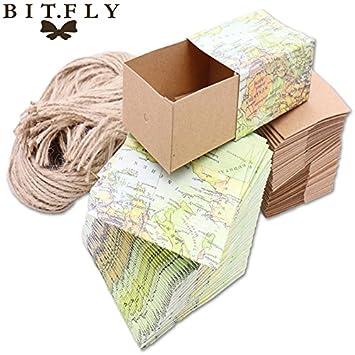Tyro - 10 bolsas de papel kraft vintage con diseño de mapa ...