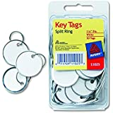 Avery 11025 Key Tags with Split Ring, 1 1/4 dia, White (Pack of 50)