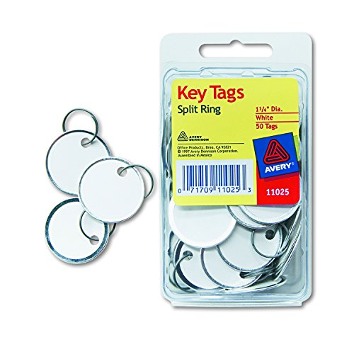 Avery 11025 Key Tags with Split Ring, 1 1/4 dia, White (Pack of 50) (Metal Rim Tag)