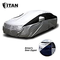 Waterproof Car Cover - Lightweight - Car Cover for Toyota Camry and Others to 200 Inches Long - Weatherproof Outdoor Car Cover Features Driver Door Zipper for Access - Click Close Straps to Secure