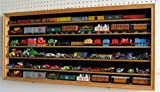HO, N Scale Trains, Hot Wheels, Toy Cars, Minifigures Display Case Rack Wall Cabinet Wall Shadow Box w/ UV Protection- Lockable (Oak Finish)
