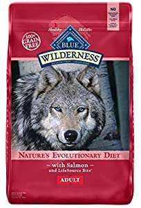 Blue Buffalo Wilderness High Protein Grain Free Natural Adult Dry Dog Food Salmon, 24 lb., Blue