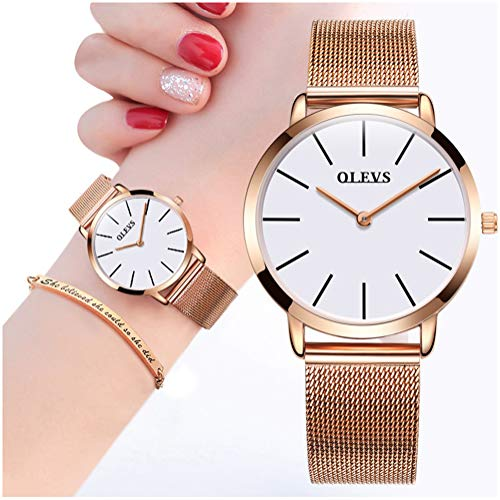 Women Rose Gold Watch Waterproof with Inspirational Bracelet Gift Set Fashion Minimalist Thin Watches,OLEVS Ladies Casual White Dial Analog Quartz Dress Wrist Watch with Slim Simple Mesh Milanese Band