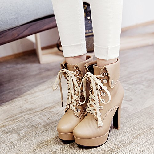 Kaloosh Women's Mature Pointed Toe Lace up Block High Heels Zip Platform Ankle Boots Party Shoes 1apricot dalmMCGFv