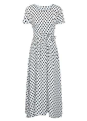 Taille Haute Cravate Line Vintage Manches Courtes Femmes A Robe Romacci Vintage Mode Robe Blanc Longue 8UAanzf