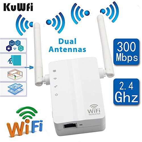 Network Router Range Expander - KuWFi Wireless N Wifi Repeater 802.11n/b/g Network Router Range Expander 300Mbps 2dbi Antennas Signal Boosters-US Version