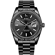 BUREIメンズ腕時計ファッションシンプル防水クォーツウォッチレトロビジネス男性誕生日プレゼント