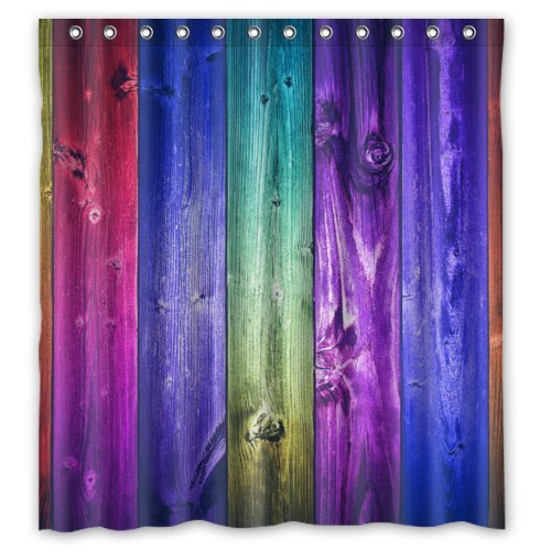 Colorful Wood - Fashion Personalized Bathroom Shower Curtain Waterproof Polyester Fabric 66(w)x72(h) Rings Included by FUNNY KIDS' HOME (Image #5)