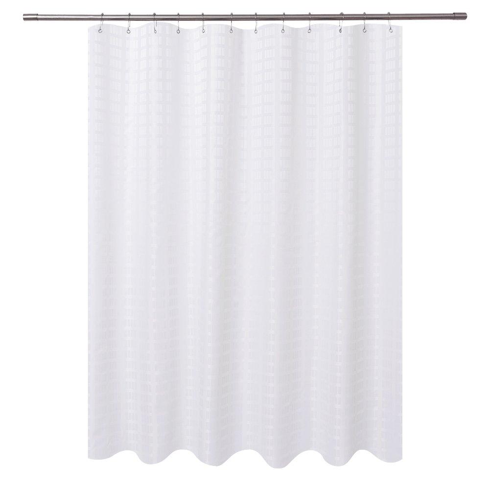 Barossa Design Fabric Shower Curtain White Hotel Grade, Water Repellent, Machine Washable, 71 x 72 inches Brick Dobby Pattern for Bathroom