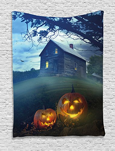 Ambesonne Halloween Decorations Collection, Rustic Wooden Haunted House Landscape in Misty Valley with Scary Pumpkins in the Dawn, Bedroom Living Room Dorm Wall Hanging Tapestry, (Halloween Haunted House Themes)