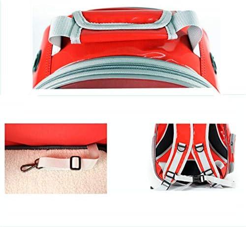 ペットの袋、 ペットバッグ新しいハイキングショッピングペットバックパックキャリアポータブルトラベラートート透明大空間通気性の快適さ遠出ドア (Color : Red)