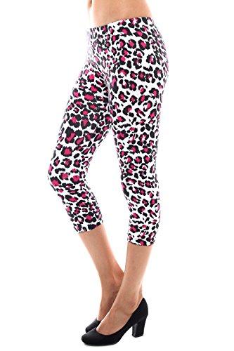 Bozzolo RB4086 Essential Leopard Print Cropped Capri Leggings White/Pink M