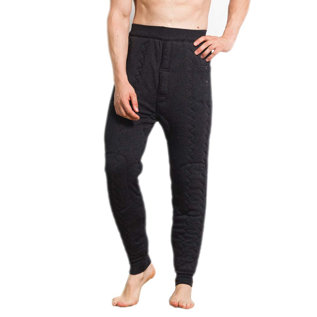 Men's Thermal Underwear, Middle and Old Aged Three-Layer Thickening Plus Velvet Warm Pants High Waist Wool Pants Winter Warm Pants Men's Thermal Underwear