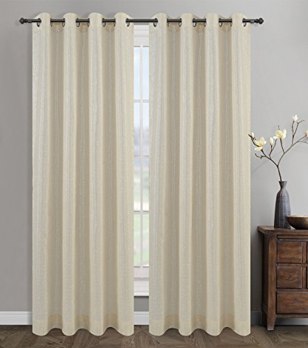 Cream Drapery Panels - Urbanest 54-inch by 96-inch Cosmo Set of 2 Sheer Curtain Drapery Panels with Grommets, Cream