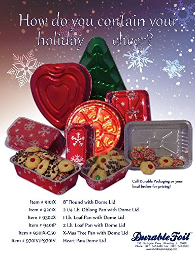 Durable Packaging Holiday Aluminum Mini Loaf Pan with Plastic Dome Lid (Pack of 100 Pans with Dome Lids) by Durable Packaging (Image #1)