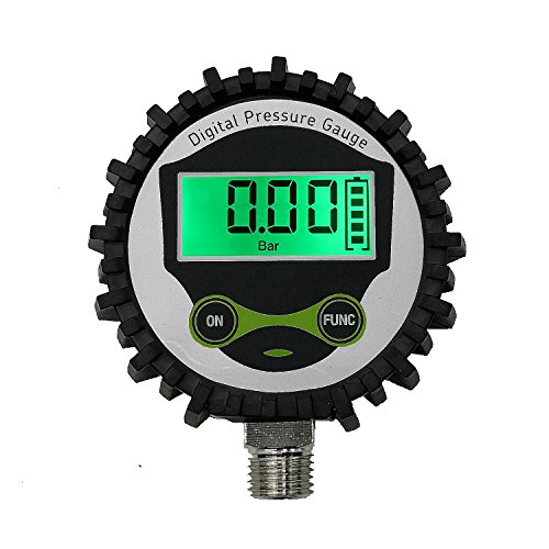 Digital Gas Pressure Gauge with 1/4'' NPT Bottom Connector and Rubber Protecter by Uharbour,0-200psi,Accuracy 1% .F.S.