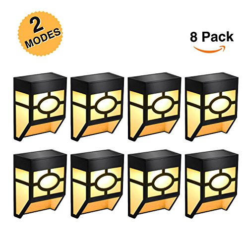 Greluna Solar Fence Lights,2 Modes Solar LED Outdoor Wall Lights for Deck, Fence, Patio, Front Door, Stair, Landscape,Yard and Driveway Path,Warm Amber/Color Changing,Pack of 8 by Greluna
