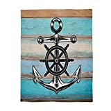 Cloud Dream Home Nautical Anchor Rustic Wood Throw Luxury Blanket Reversible Fuzzy Microfiber All Season Blanket for Child and Adults 50'' X 60''