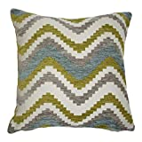 McAlister Navajo Plush Textured Chenille 20'' Decor Pillow Cover | Lime Green Blue Zip 20x20 Throw Cushion Case | Zig Zag Woven Linen Modern Aztec MoroccanBoho Accent