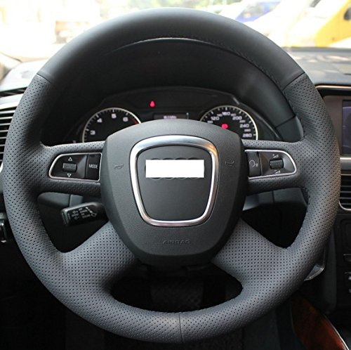 Hand sewing Black Genuine Leather Steering Wheel Cover for Audi Old A4 B7 B8 A6 C6 2004-2011 Q5 2008-2012 Q7 2005-2011 (Audi A6 Wheel Cover compare prices)