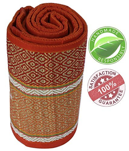 SouvNear - 3x6 Feet Travel Yoga Mat / Beach Mat / Picnic Mat / Floor Mat / Fitness Exercise Mat - Handmade Eco Friendly & Non Toxic Foldable Extra Long / Wide Straw Mats [ Orange-White-Red]