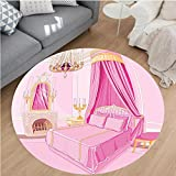 Nalahome Modern Flannel Microfiber Non-Slip Machine Washable Round Area Rug-Girls Decor Interior Of Magic Princess Bedroom Old Fashioned Ornament Pillow Lamp Mirror area rugs Home Decor-Round 75''