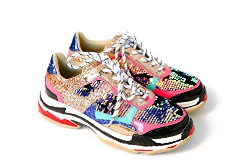CAPE ROBBIN Women Chunky Trainer Sneakers Flagship (10, Multi) - Glitter Cape