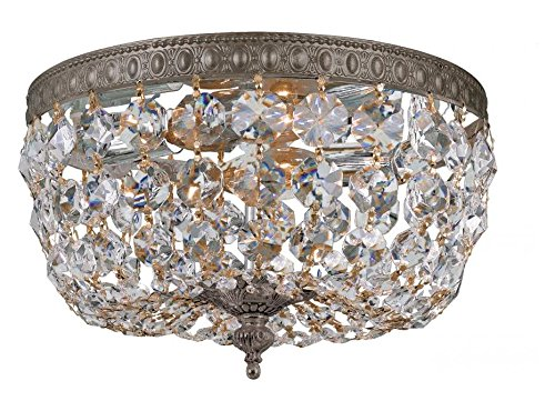 (English Bronze / Clear Italian 2 Light Flush Mount Ceiling Fixture with Crystal shade)