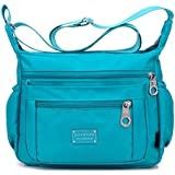 Crossbody Purse for Women, Adjustable Shoulder Strap Handbag w/ Multiple Zippered & Elastic Pockets + Organizer for Wallet, Passport, Boarding Pass & More, {Sky}, Water Resistant Nylon from Soyater