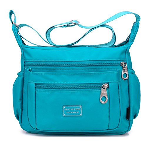 (Crossbody Purse for Women, Adjustable Shoulder Strap Handbag w/ Multiple Zippered & Elastic Pockets + Organizer for Wallet, Passport, Boarding Pass & More, {Sky}, Water Resistant Nylon from Soyater)