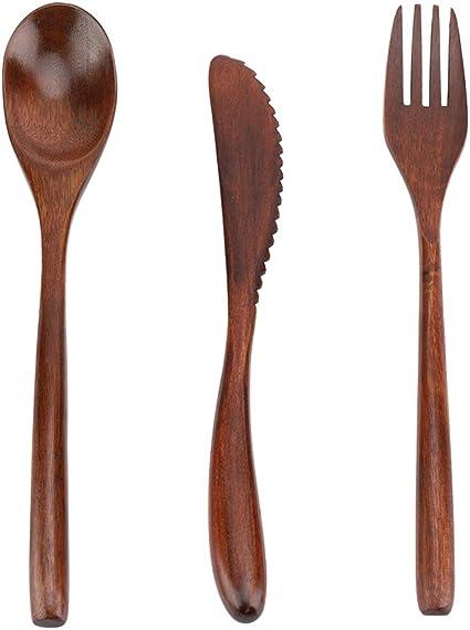 HelloCreate - Juego de cubiertos de bambú, estilo japonés, reutilizable, juego de vajilla de bambú (sólo cuchara tenedor cuchillo) Cuchillo y tenedor ...