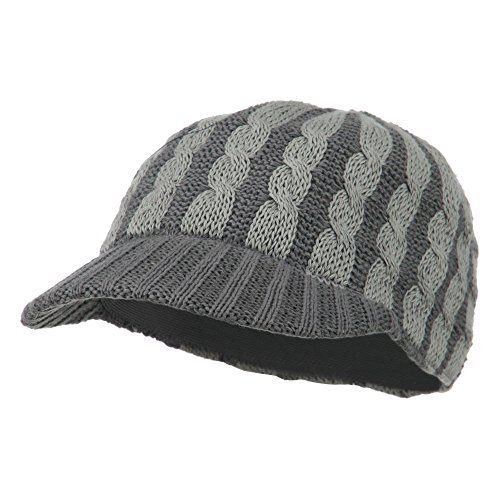 (Two Tone Cable Knit Military Cap - Grey OSFM)