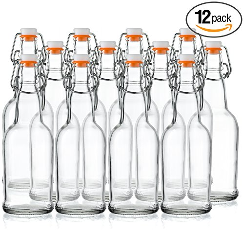 Home Brewing Glass Beer Bottle with Easy Wire Swing Cap & Airtight...
