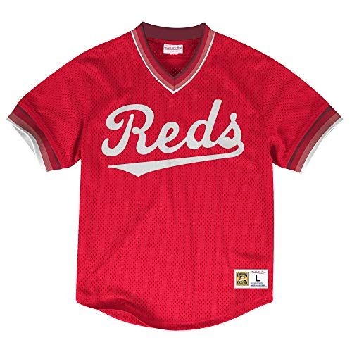 Mitchell & Ness Cincinnati Reds Men's Mesh V-Neck Jersey (Large)