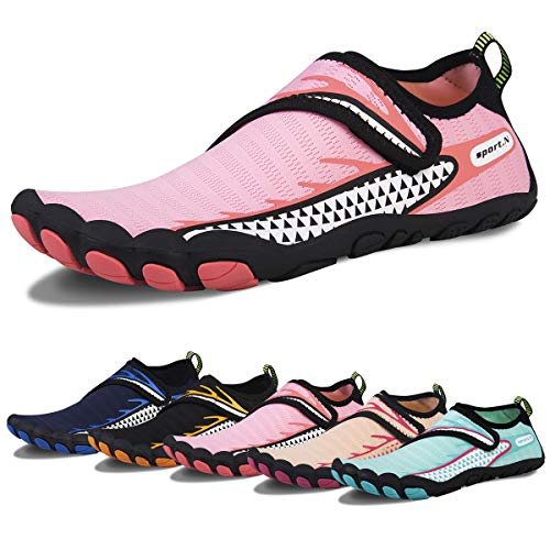 Water Shoes for Men and Women Barefoot Quick-Dry Aqua Sock Outdoor Athletic Sport Shoes for Kayaking, Boating, Hiking, Surfing, Walking (I-Pink, 39)
