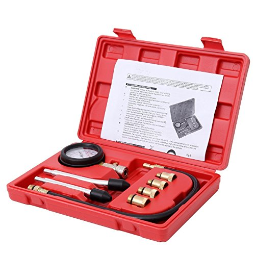 Bang4buck 8 Pieces Engine Compression Gauge Test Set Cylinder Diagostic Tool Kit 0-300 PSI 0-20 KPA with Manual by Bang4buck (Image #1)