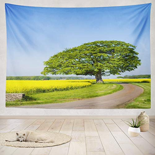 ASOCO Tapestry Wall Handing Single Track Country Vibrant Yellow Oil Seed Agriculture Blue Blue Sky Wall Tapestry for Bedroom Living Room Tablecloth Dorm 60X80 ()