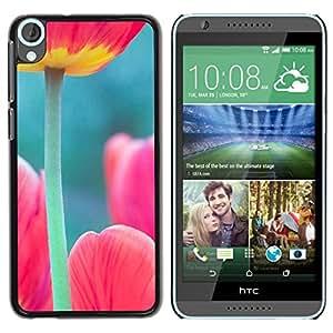 FlareStar Colour Printing Tulip Poppy Green Pink Spring Nature cáscara Funda Case Caso de plástico para HTC Desire 820