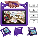 DJ&RPPQ [Kids Friendly] Light Weight [Anti Slip] Shock Proof Protective Cover Adapt to All-New A-m a zo n F.i r e 7 Tablet (Compatible with 5th Generation 2015 / 7th Generation 2017) (Purple)